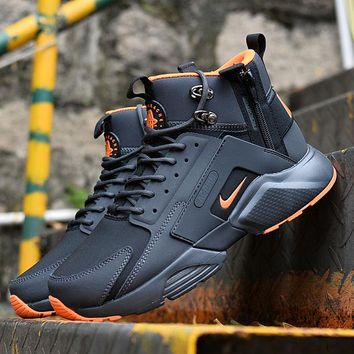 Best Online Sale Nike Air Huarache X Acronym City Customise MID Leather Sport Shoes Black Orange