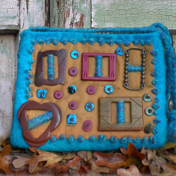Wool Felted Purse - Felted Wool and Vintage Bakelite Buckle Shoulder Bag