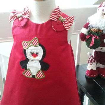 Girls Christmas Dress - Baby A-Line Style Dress - Penguin Christmas dress - Boutique Style - Sizes 12 and 18M Ready to Ship!