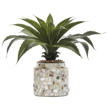"""9"""" Tall Agave in Mother of Pearl Mosaic Vase"""