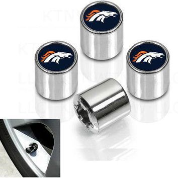 Licensed Official New NFL Denver Broncos Car Truck SUV Plastic Chrome Finish Tire Valve Stem Caps