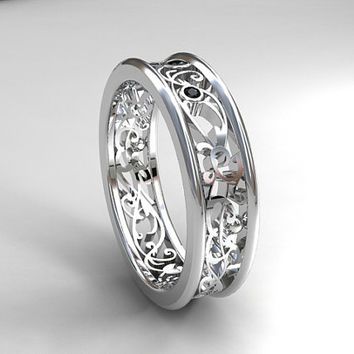 6 00mm Wide Filigree Wedding Band With Black Diamonds White Gol