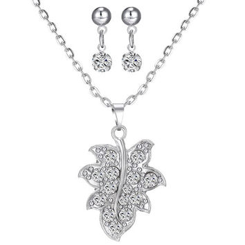 Silver Rhinestone Maple Leaf Necklace and Earrings