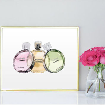 CHANEL CHANCE Perfume Ilustration Chanel Art Print Coco Chanel Print Printable Women Gift Chanel Perfume Coco Chanel Fashion Perfume Bottle