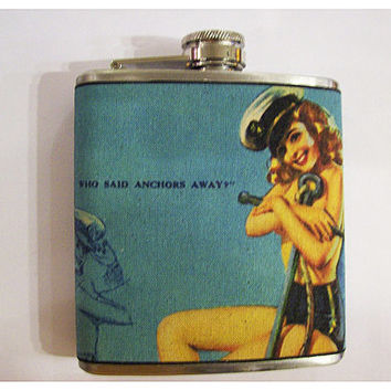 Sailor pin up girl flask retro vintage 1950's rockabilly burlesque nautical bar decor