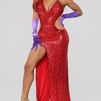 New Red Patchwork Sequin Cut Out Spaghetti Strap Backless Side Slits Deep V-neck Party Clubwear Maxi Dress