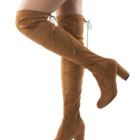 Women's  3 inch ,Thigh High Over The Knee Block Chunky Heel Pointy Round Toe Boots