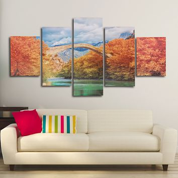 5PCS Autumn Unframed Landscape Huge Modern Abstract Canvas Wall Art Oil Print Painting