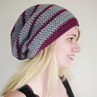 Crochet Slouchy Beanie The Derby Square Hat in Berry and Gray