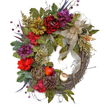 Floral Fall Wreath for Door