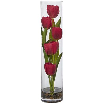 Artificial Flowers -Tulips In Cylinder Glass Arrangement No2 Silk Plant
