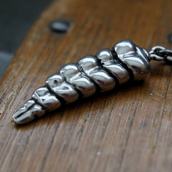 Rattlesnake Tail Necklace in Solid White Bronze