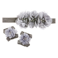 Gray Pearl Flower Headband Set