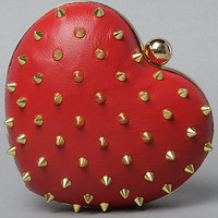 The Mata Hari x Melody Ehsani Heart Clutch in Red Leather