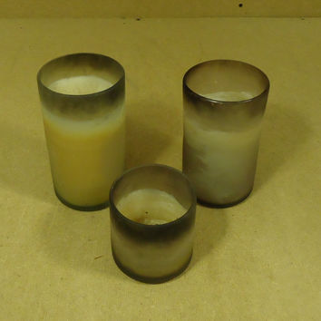 Handcrafted Set of 3 Candles in Glass Jars Large 7in x 4in Gray Small 4in x 4in -- Used