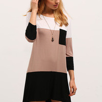 Color Block Dress with Pocket White Coffee Black