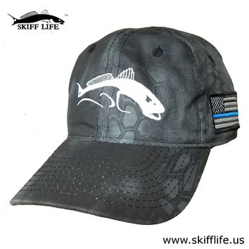 Kryptek Typhon Camo Hat White Bull Redfish with Thin Blue Line on American Flag