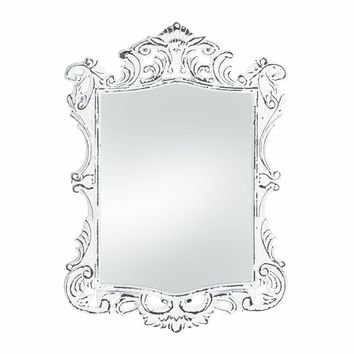 Wooden Regal White Distressed Wall Mirror