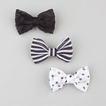 Full Tilt 3 Pack Stripe/Dot/Lace Bow Hair Clips White/Black One Size For Women 24241616801