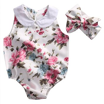 Cute Newborn Baby Girl Romper 2017 Summer Floral Clothes Peter Pan Collar Sleeveless Toddler Kids Sunsuit Outfits 0-24M