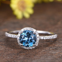 1.2 Carat London Blue Topaz Engagement Ring With Diamond 14k White Gold Halo Stacking Band