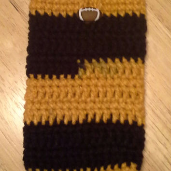 Smart Phone Cozy, PITTSBURGH STEELERS football handmade crochet cozy, fits most smartphones