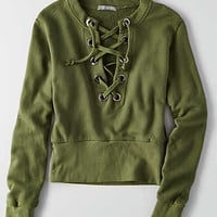 Don't Ask Why Lace-Up Sweatshirt, Olive