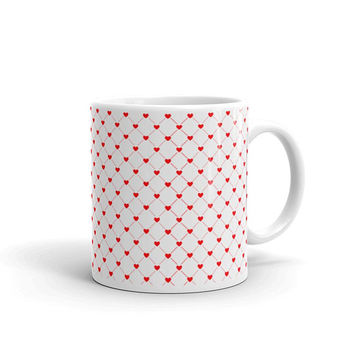 Hearts Mug, Red Hearts Mug, Valentine Mug, Coffee Mug, Valentine's Day Gift, Love Mug, Best Friend Gift, Heart Patterned Mug, Birthday Gifts