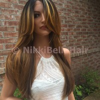 Casey Human Hair Blend Multi Parting Lace Front Wig
