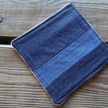 Hot Pad / Pot Holder / Dish Rag / Repurposed Denim Patchwork / Plush ORGANIC Terry Cloth / Eco Friendly Wedding Gift /