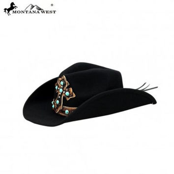 Montana West Black Turquoise Stone Cross Cowgirl Hat CHT-9005