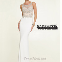 High Neck Illusion Beaded Paparazzi Prom Dress By Mori Lee 97146