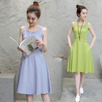 Women Cotton Linen Scoop Neck Sleeveless A-line Dress