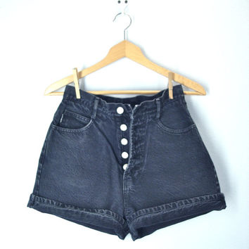 80s Shorts Black Denim Button Fly High Waist BONGO Shorts