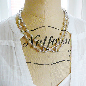 Necklace, Rhinestone Bow, Vintage Focal and Japan Glass Pearl, Deco Delight Vintage Chain