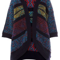 Warehouse Reverse jacquard cardi Multi-Coloured