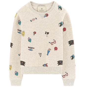 Scotch & Soda Girls Beige Printed Sweatshirt