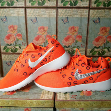 blinged nike roshe run print orange white color with purple swooshes customized with swarovski crystal rhinestones