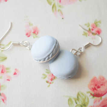 Macaroon Earrings, Macaron Earrings, Dessert Earrings, Food Earrings, Pastel Earrings, Pastel Kawaii, Sweet Lolita, Pastel Blue, Light Blue