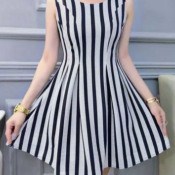 Sleeveless Striped Fit and Flare Dress
