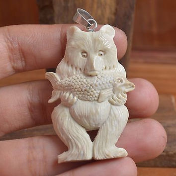 "Hand Carved Bear 2.4"" Natural Buffalo Bone 925 Sterling Silver Pendant BP1001"