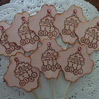 12 Cottage Chic Baby Girl Cupcake Toppers - Girl Baby Shower - It's a Girl - Food Picks - Party Picks - Light Pink - Baby Mobile