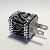 Zebra Glitter & Clear Rhinestone iPhone USB Charger by VanityCases