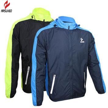ARSUXEO Sports Jacket Windproof Waterproof Bike Clothing Rainproof Jersey Breathable Windbreaker Running Cycling Rain Jacket Men