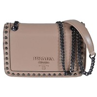 Prada Pattina Glace Calf Leather Cammeo Beige Pattina Studded Bag 1BD147