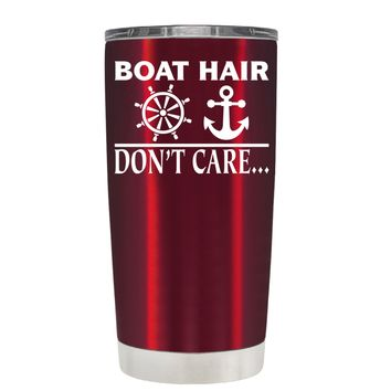 TREK Boat Hair Don't Care on Translucent Red 20 oz Tumbler Cup