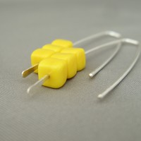 Sunny Yellow Czech Glass Cube and Sterling Silver Earrings | The Silver Forge Handcrafted Jewellery