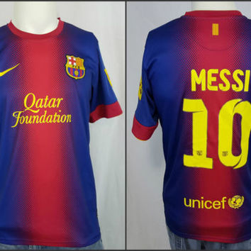 96ce72cd25b Nike Dri Fit Lionel  10 Messi Qatar Foundation Unicef FCB LFP Soccer Jersey