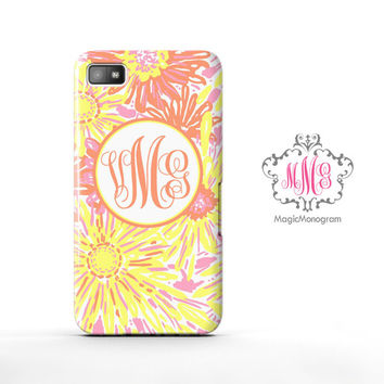 Yellow Sun Kissed Lilly Pulitzer Monogram Blackberry Case Z10, BB Q10 Case