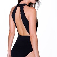 Olivia Scallop Edge Open Back Body